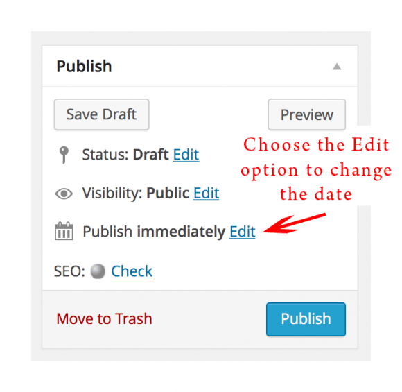 Choose the edit option to change the date & time to publish