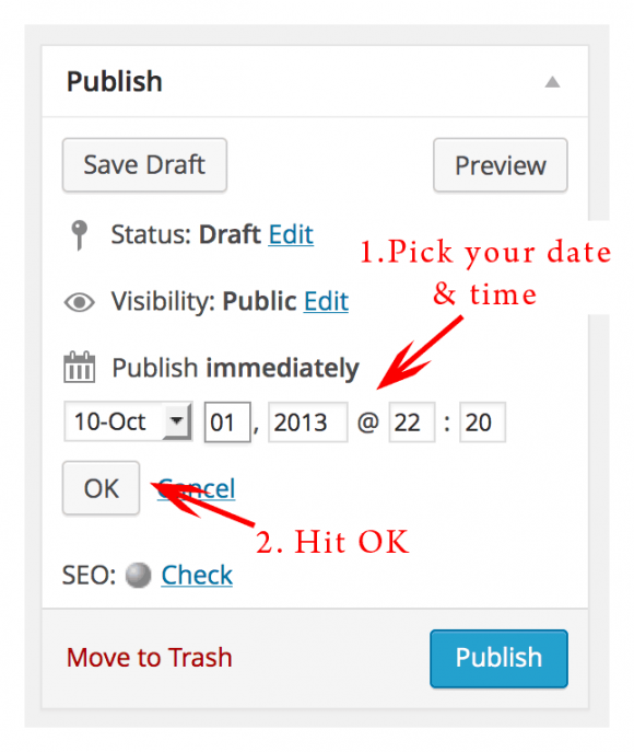 screenshot of how to change date & time in publish panel in wordpress