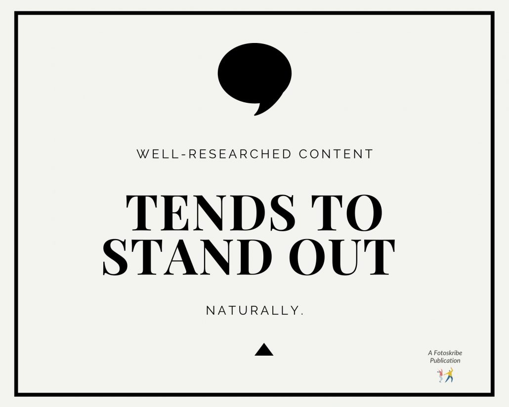 Infographic stating well-researched content tends to stand out naturally.