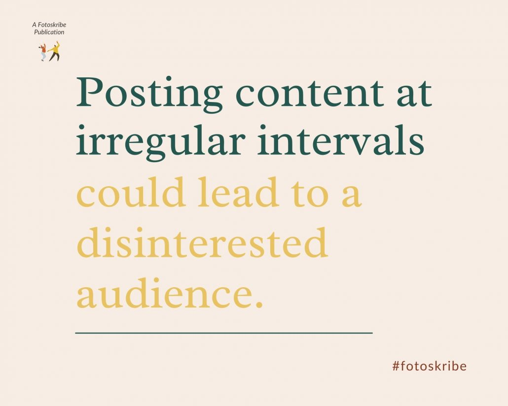 Infographic stating posting content at irregular intervals could lead to a disinterested audience