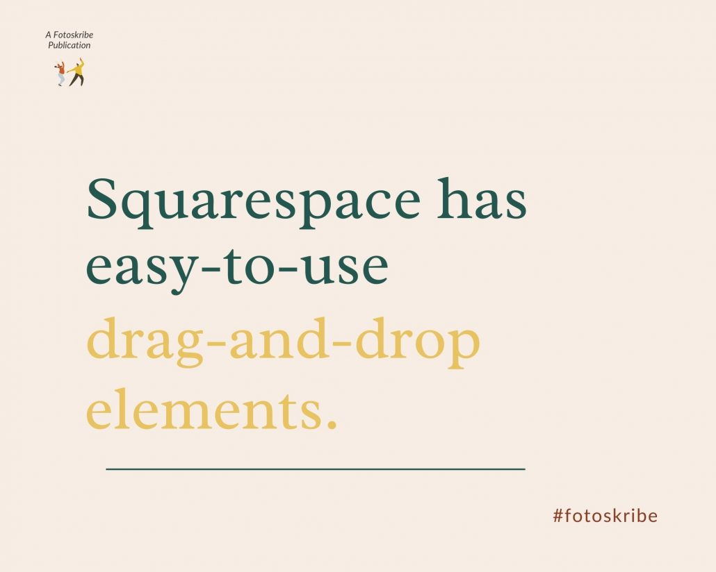 Infographic stating Squarespace has easy-to-use drag-and-drop elements.
