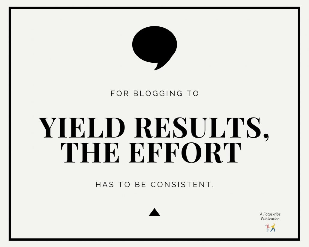 Infographic stating for blogging to yield results, the effort has to be consistent.