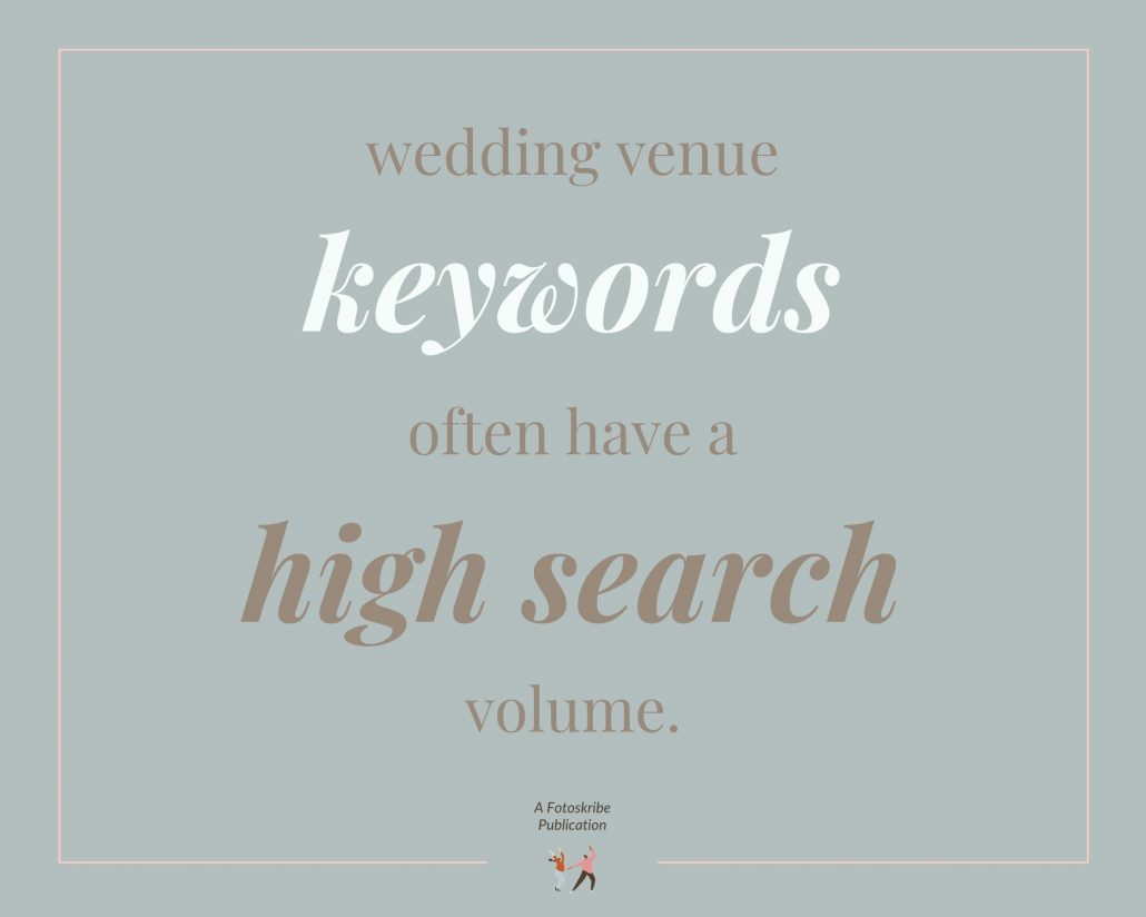 Infographic stating wedding venue keywords often have a high search volume