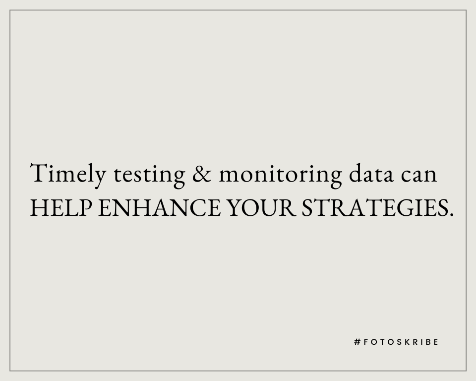 Infographic stating timely testing and monitoring data can help enhance your strategies