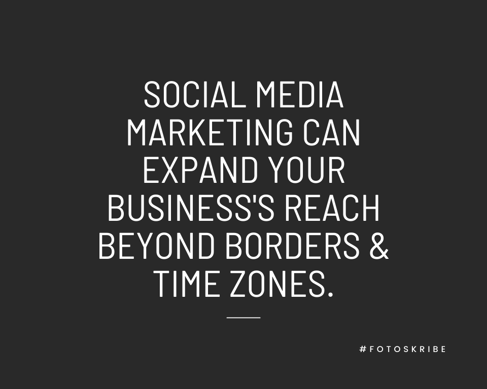 Infographic stating Social media marketing can expand your business's reach beyond borders & time zones.