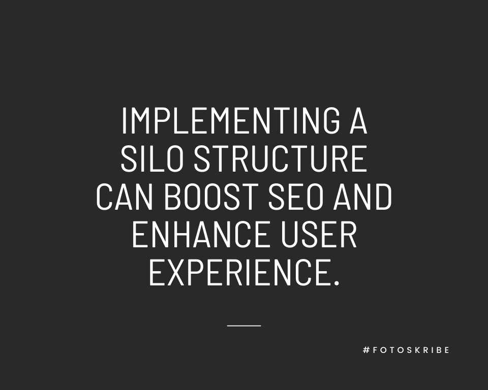 Infographic stating implementing a silo structure can boost SEO and enhance user experience
