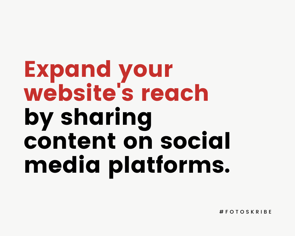Infographic stating expand your website's reach by sharing content on social media platforms