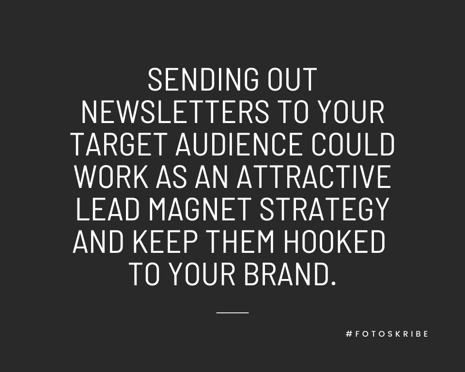Infographic stating sending out newsletters to your target audience could work as an attractive lead magnet strategy and keep them hooked to your brand